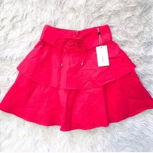 NWT Lovers + Friends Red Tie Mini Skirt